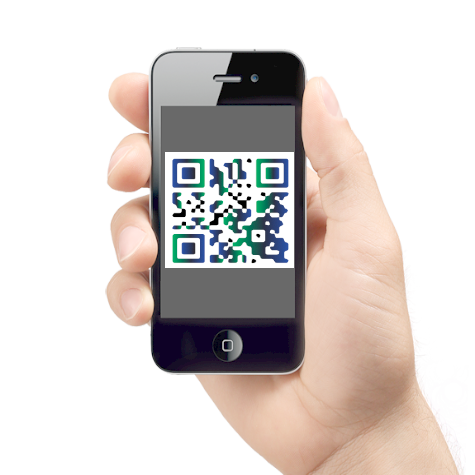 Hand holding mobile qrcode
